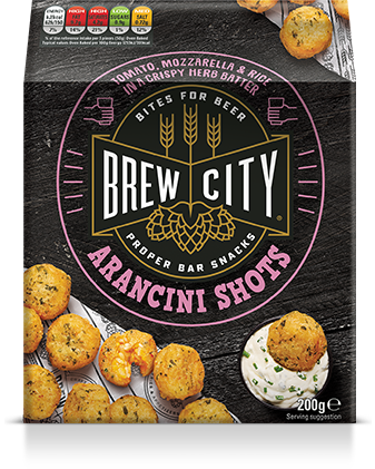 Brew city arancini shots packaging