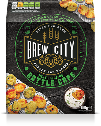 Brew city fiery jalapeno bottle caps packaging