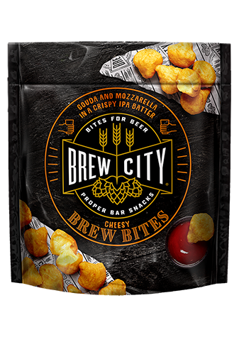 Brew city cheesy brew bites packaging