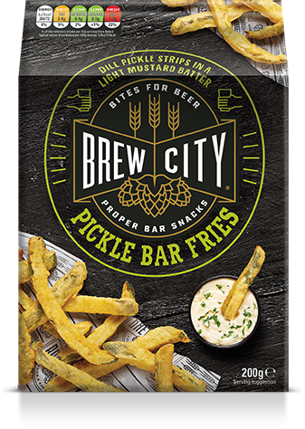 Brew city dill pickle bar fries packaging